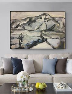 Landscape painting on canvas original large abstract painting Canvas Painting Landscape, Large Painting, Abstract Canvas, Canvas Wall Art, Black And White Painting, White Art, Original Artwork, Original Paintings, Oversized Wall Art