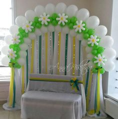Green and Yellow Balloon Backdrop | Balloon Flower Arch #balloonarch #party