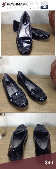 Sperry Top-Sider Black Patent Leather Loafers Black patent leather loafers with rubber soles. In excellent condition with no visible scratches or marks. The ultimate in comfort!  Thanks for your interest!  Please checkout the rest of my closet. Sperry Top-Sider Shoes Flats & Loafers