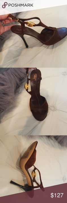 Gucci sandals Gucci t strap, metal side accent chocolate  suede sandals. Almost 4  1/2 inch heels. Used but in great CONDITION. Gucci Shoes Sandals