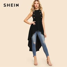 SHEIN Black Elegant Party Double Button Asymmetrical Embellished Dip H – thatsmestore Shirts & Tops, Casual Shirts, Dress Outfits, Fashion Outfits, Womens Fashion, Fashion Clothes, Casual Wear, Casual Dresses, Cheap Blouses