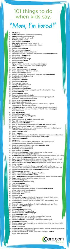 101 Things to Do When Kids Say I'm Bored