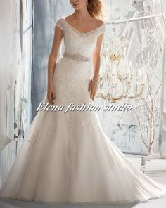 Luxury Lace wedding dress mermaid lace wedding gown with bead work