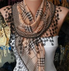 Sandy Brown Plaid  Scarf   Cotton Scarf Headband by fatwoman, $15.00