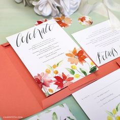 Gorgeous hand painted watercolor invitation. Free download by clicking through