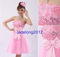 Elegante Acolchado Corto Mini Dama Prom fiesta vestido de noche para bodas