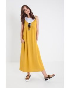 Viscose yellow long dress RUE BISQUIT - Officine Concept #ruebisquit #rue8isquit #longdress #yellowdress