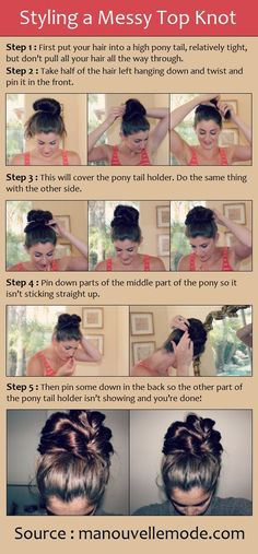 A Messy Top Knot | http://hairstyle384.blogspot.com