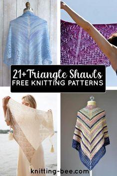 21+ Free Triangle Shawl Knitting Patterns Free Knitting Patterns For Women, Cable Knitting Patterns, Christmas Knitting Patterns, Shawl Patterns, Lace Knitting, Lace Wrap, Knitting Accessories, Free Pattern, Triangle