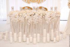 """Купить Свадебное оформление стола президиум, стол молодоженов """"Белое кружево"""" - оформление свадьбы"""