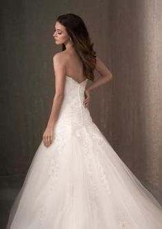 Beaded Lace Applique A-Line Tulle Wedding Dress