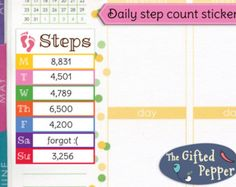 Daily step count stickers [Printable]. Pedometer walking running tracker. Erin Condren planner.