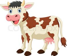 """Buy the royalty-free Stock vector """"Vector illustration of Cute cow cartoon isolated on"""" online ✓ All rights included ✓ High resolution vector file for . Cow Clipart, Cow Vector, Cartoon Cow, Cartoon Pics, Baby Farm Animals, Cute Animals, What Is Graphic Design, School Picture Frames, Angel Wings Wall Art"""
