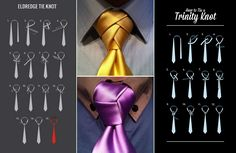 The Eldridge and Trinity Tie Knot- How To. Add interest  to a traditional suit, or add flare to a wedding tux.  #Men #ties