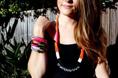 """My DIY jewellery - finally got these shot properly. Jennie is wearing Hors'in Around bracelets ($10.00) and Hex Me Nut Necklace ($15.00). Calling this series: """"Neon Hardware""""."""