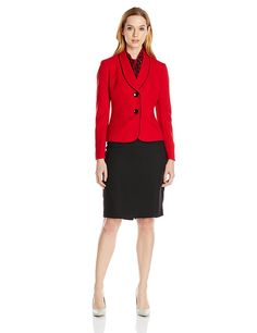 Le Suit Women's 2 Button Trimmed Collar Jacket Skirt and Scarf Set *** This is an Amazon Affiliate link. Want additional info? Click on the image.