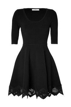 Prabal Gurung - Cashmere-Wool Lace Trim Dress in Black