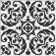 Square 02 | Free chart for cross-stitch, filet crochet | Chart for pattern - Gráfico