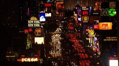 Las Vegas, Nevada. Aerial view of the Las Vegas strip at night. [From: Aerial America]