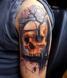 Skull and tree tattoo - 100 Awesome Skull Tattoo Designs  <3 <3