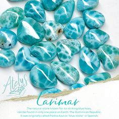 """Larimar, the natural stone known for  its striking blue hues, can be found in only  one place on Earth: The Dominican Republic. It was originally called Piedra Azul,  or """"blue stone"""" in Spanish Larimar Jewelry, All That Glitters, Dominican Republic, Magpie, Natural Stones, Birthstones, Spanish, Earth, Crystals"""