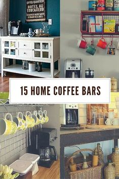 Put some pep into your home design with one of these cool home coffee bars. Coffee Nook, Coffee Bar Home, Home Coffee Stations, Coffee Bars, Coffee Coffee, Coffee Doodle, Coffee Enema, Ninja Coffee, Coffee Break