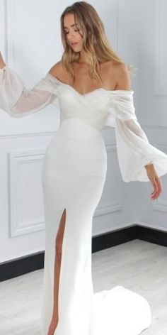 Hottest Wedding Dresses Collections for ★ best wedding dresses sheath simple off the shoulder long sleeves onedaybridal Best Wedding Dresses, Bridal Dresses, Wedding Styles, Wedding Gowns, Wedding Bride, Fashion Wedding Dress, Petite Bride Wedding Dress, Boho Wedding, Simple Wedding Dress With Sleeves