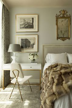 English charm mixed with contemporary pieces in this beautiful, neutral bedroom., Home Decor, English charm mixed with contemporary pieces in this beautiful, neutral bedroom. Bedroom Desk, Home Decor Bedroom, Bedroom Furniture, Calm Bedroom, Diy Bedroom, Mirrored Bedroom, Bedroom Rustic, White Bedroom, Luxury Furniture