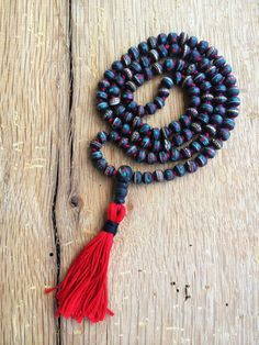 Black Mala Necklace Prayer Spiritual Mala Red by JivalaJewelry, $65.00