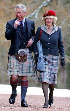 Prince Charles and Camilla, the Duchess of Cornwall, wearing Balmoral Tartan.