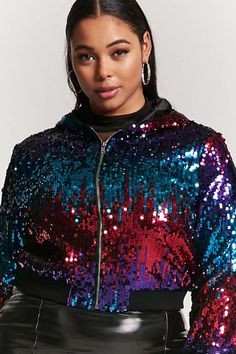 08a13c72 FOREVER 21+ Plus Size Hooded Sequin Jacket Female Fashion and Style for  Woman plus size