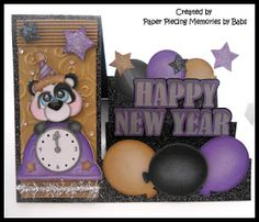Happy New Year Step card created by PAPER PIECING MEMORIES BY BABS, pattern by KaDoodle Bug Designs. Card base from Pretty Paper Pretty Ribbons