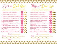 Mom Vs Dad Quiz Baby Shower Printable Game Pink And Gold Baby