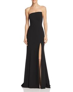 Aqua Strapless Scuba-crepe Gown - Exclusive In Black/nude Simple Dress Casual, Classy Dress, Simple Dresses, Casual Dresses, Elegant Dresses, Fashion Dresses, Simple Bridesmaid Dresses, Black Wedding Dresses, Bridesmaids