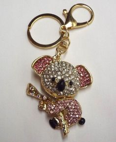 "Cute Cuddly Pink Koala Bear Purse Charm Key Ring for Handbag Sparkling Crystals FOR SALE AT EBAY STORE ""shoppingwithgigi"" FOR $12.49"