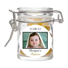 Personalized Baptism Photo Glass Favor Jar