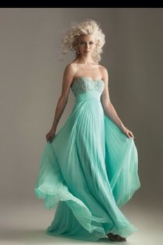 Strapless mint long flowy prom dress;)