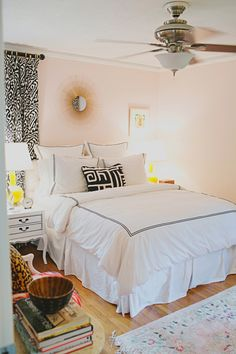 Love this wallcolor: The paint color is the perfect pale pink, Benjamin Moore's Sugarcane (1185).