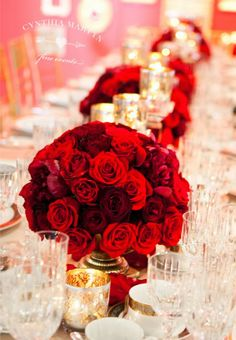 The Best Wedding Centerpieces of 2013 | bellethemagazine.com ... beautiful red roses floral arrangements with candles