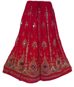 Vibrant Red Festive Long Skirt / Dress Boho by anjiscollection