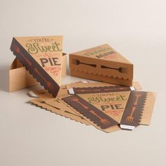 """Sweet as Pie"" Pie Slice Boxes, Cake Boxes Packaging, Dessert Packaging, Bakery Packaging, Cool Packaging, Food Packaging Design, Sweet Box Design, Pie Co, Box Cake, Sweet Cakes"