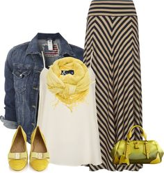 A fashion look from April 2013 featuring petite tops, jean jacket and striped maxi skirts. Browse and shop related looks. Modest Outfits, Skirt Outfits, Modest Fashion, Casual Outfits, Cute Outfits, Fashion Outfits, Skirt Fashion, Fashion Clothes, Fashion Ideas