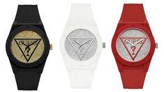 White and Silver-Tone Analog Watch at Guess Guess Girl, Glitters, Watches, Women, Fashion, Moda, Wristwatches, Fashion Styles, Clocks