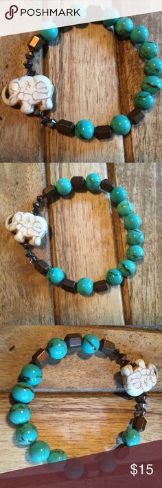 Howlite Elephant Bracelet Handmade stretch bracelet featuring all natural                                                   ➵ turquoise howlite ➵ carved howlite elephant ➵ bronze hematite ➵ dual colored Swarovski crystals         ➵ handmade with passion & love [TEXAS🇺🇸] Simple Sanctuary Jewelry Bracelets