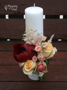 Flowers of Soul: Lumanari de nunta Wedding Unity Candles, Diy Candles, Pillar Candles, Tropical Floral Arrangements, Flower Arrangements, Baptism Candle, Diy Candle Holders, Diy Centerpieces, Wedding Flowers