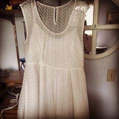 Thank you JCrew for the ivory Swiss dot chiffon dress with cap sleeves!!! I love love love