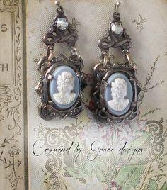 Wedgewood Blue cameo vintage assemblage earrings by crownedbygrace