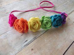 Felt flower rainbow headband  by muffintopsandtutus on Etsy, $10.00