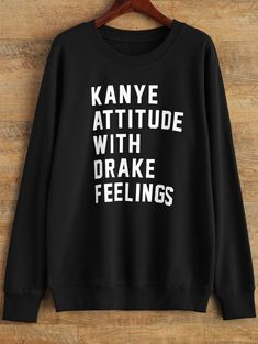 Graphic Crew Neck Streetwear Sweatshirt - BLACK L