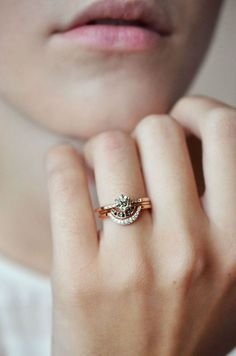 Anna Sheffield Diamond Hazeline with the Rose Gold Crescent Band
